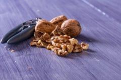 Closeup of cracked walnuts Stock Photo