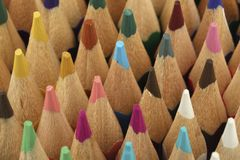 Closeup of crayons. A closeup of crayons in different colors stock photo