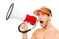 Closeup of crazy lifeguard man shouting in megaphone on white. Closeup of crazy lifeguard man shouting in megaphone Royalty Free Stock Photos