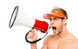 Closeup of crazy lifeguard man shouting in megaphone on white Stock Photo