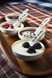 Closeup cream dessert with chocolate and berries i. N white porcelain bowls on wooden plate with ceramics measuring spoons. Checkered tablecloth Royalty Free Stock Images