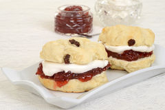 Closeup cream tea scones. On a plate Stock Image
