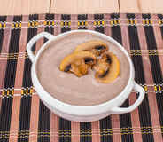 Closeup of creamy mushroom soup. Royalty Free Stock Images