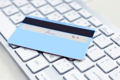 Closeup of credit card on a pc Stock Photo