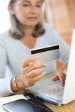 Closeup of credit card for shopping online Royalty Free Stock Photo