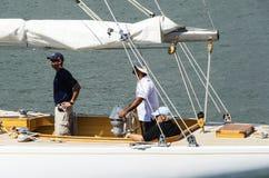 Closeup crew of a yacht sailing Stock Images