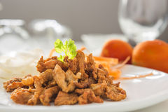 Closeup Crispy Fried Pork on White Plate. Royalty Free Stock Image