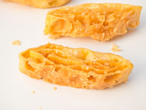 Closeup of crispy fried roti coating with sweety butter caramel Royalty Free Stock Photo