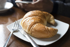 Closeup croissant fresh Royalty Free Stock Image