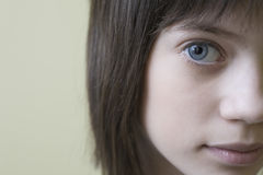 Closeup Of Cropped Girl With Brown Hair Royalty Free Stock Photos