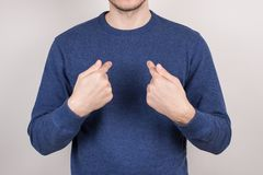Closeup cropped picture photo portrait of satisfied confident guy pointing on himself self wearing casual pullover isolated grey royalty free stock photography