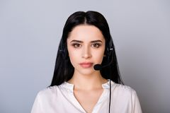 Free Closeup Cropped Portrait Of Successful Serious Young Brunette Gi Royalty Free Stock Photography - 119005497