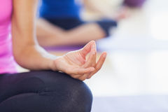 Closeup of cropped sporty women in lotus pose Royalty Free Stock Photo
