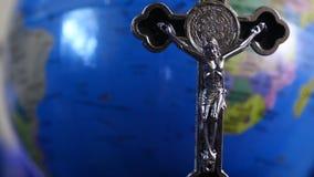 Closeup of cross in the Church stock video