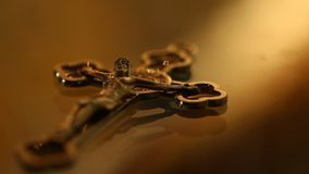 Closeup of cross in the Church stock footage