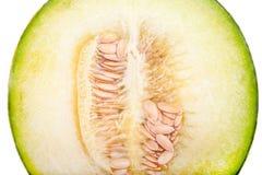 Closeup cross section of a Galia melon Royalty Free Stock Photo