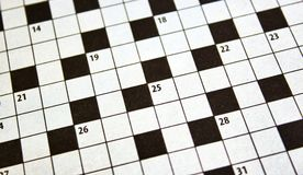Closeup of crossword puzzle from a newspaper royalty free stock image