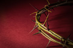 Closeup Crown of Thorns. On red background Stock Photo