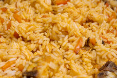 Closeup crumbly rice with chicken Royalty Free Stock Photos