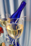 Closeup of crystal glass. Of white wine Stock Image