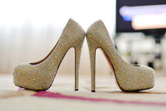 Closeup of Crystal Shoes Royalty Free Stock Photos