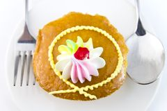 Closeup Cup cake and fork Stock Image