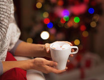 Closeup on cup of chocolate with marshmallow in hand of woman Stock Photo