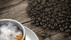 Closeup cup of coffee and coffee beans on an old wooden table. 3D Rendering Stock Images