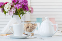 Closeup of cup of coffee in interior restaurant Stock Photos