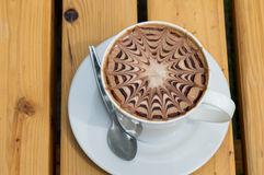 Closeup cup of coffee mocha. Closeup cup of hot coffee mocha Royalty Free Stock Photography