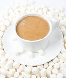 Closeup of cup of hot cocoa with small marshmallows resting on b Stock Image