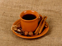 Closeup cup of italian espresso Stock Photos
