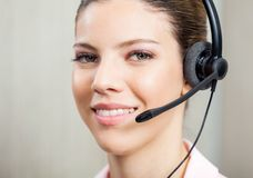 Closeup Of Customer Service Agent Wearing Headset Stock Photos