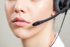 Closeup Of Customer Service Representative Wearing Royalty Free Stock Images