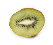 Closeup of cut green kiwi fruit isolated on white Stock Photo