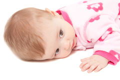 Closeup of cute baby girl in pink isolated Stock Image