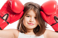 Closeup of a cute boxing girl Stock Photo