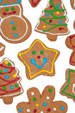 Closeup of cute, colorful gingerbread cookies Royalty Free Stock Photos