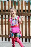 Closeup Cute little asia girl smile and action for take a pictur royalty free stock photography