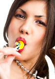 Closeup cute woman with candy Royalty Free Stock Photo