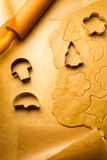 Closeup cutting of gingerbread cookies Stock Images