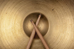 Closeup Cymbal and drumstick. Stock Image