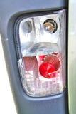 Closeup of damaged headlamp after collision Stock Image