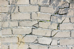 Closeup of dangerous wall with cracks in sunshine Stock Photo