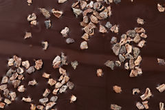 Closeup dark chocolate with pieces of cocoa beans Royalty Free Stock Images