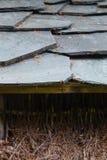 Closeup of dark grey stone roof tiles Stock Photo
