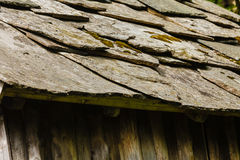 Closeup of dark grey stone roof tiles Royalty Free Stock Image