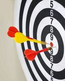 Closeup of dart board with arrows. Concept of hit the target Stock Images
