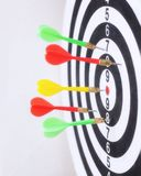 Closeup of dart board with arrows. Concept of hit the target Stock Photography