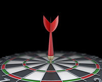 Closeup dart stuck in the dart board Stock Images